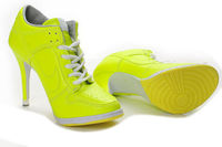 Lady Nike Dunk SB Low Heels Shoes In Green Yellow