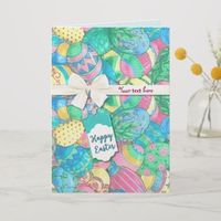 Egg-stavaganza Pastel Easter Eggs Holiday Card