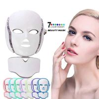 7 Color Photon LED Facial Neck Mask For Skin Rejuvenation, Acne, Pore, Anti-Aging Beauty Light Therapy Light For Home Use $69.99