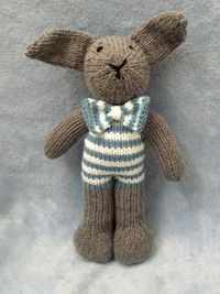 Hand Knitted Stuffed Gray Bunny Rabbit. Perfect for an addition to an Easter Basket.