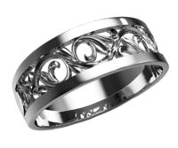 Milgrain Wedding Band Filigree Wedding Ring Band Milgrain gold ring Flower band floral ring in 14K or 18K white gold with 6 accents $917.70
