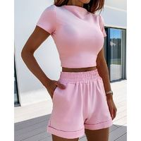 $22.74 Aliexpress - Sexy 2 Piece Set Summer Women Short Sleeve Solid Skinny Crop Top And Elastic Shorts Matching Sets Fashion Tracksuit New SJ5993V. Buy it from Aliexpress.com