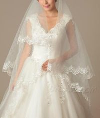 Faddish Cathedral Length White Tulle Wedding Veil