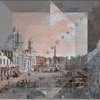 View of Piazza Navona, Rome, print on paper and canvas, original artwork, abstract art, gift, art set for interior design $15.00