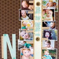 """lots of pics on a single layout- single subject, topic, etc. The """"N"""" could also be a large embellishment. #scrapbooking #layout"""