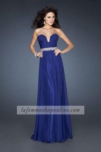 Chiffon A-Line Strapless Indigo Homecoming Dresses With Pleated Bodice
