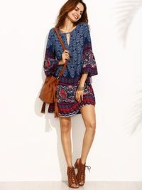 Tribal Print Short Dress