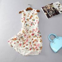 Must-have Countryside Sweet Hollow Out Polo Collar Sleeveless Floral Summer Dress Sleeveless Top - Discount Fashion in beenono