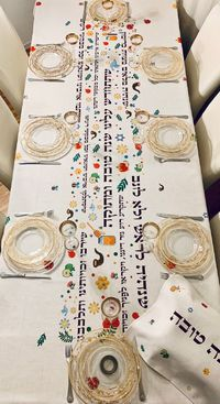 Rosh Hashanah, Colorful , Happy and Unique Tablecloth. FREE Matching Challah Cover! $112.61