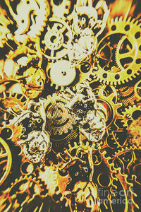 Steampunk Romance Art Print | Automation in love with mechanical hearts abstracted on the gears of steampunk design | #steampunkart #loveart #heartart #wallartdecor #industrialdecor #industrial #workshopideas #mancavedecor