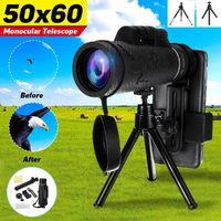 50x60 HD Zoomable Optical Lens Telescope Monoculars Outdoor Camping Hunting Camera with Tripod