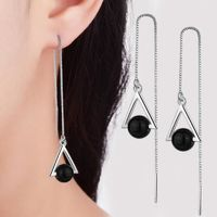 Beautiful Triangle Geometric 925 Sterling Silver Jewelry Long Exaggerated Natural Black Crystal Tassel Dangle Earrings $5.98
