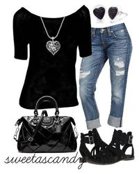A fashion look from January 2013 featuring off-shoulder tops, ripped boyfriend jeans and strappy sandals. Browse and shop related looks.