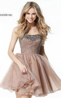 SHORT STRAPLESS NUDE SHERRI HILL 51398 HOMECOMING DRESS CHEAP
