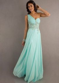 One Shoulder Jeweled Aqua Long Sheer Back Evening Dress