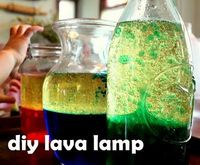 DIY Lava Lamps: �€�Vegetable oil, Water, Food coloring of your choice, Alka-Selzer Tablets. 1.Fill the container with 2 parts oil, 1 part water [Leave some room at the top of the container for a little bit of bubbling.] 2.Drop in a few drops of food...