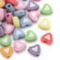 Pack of 200 Acrylic Assorted Candy Colours Love Heart Beads. 7mm x 8mm Spacers £6.19