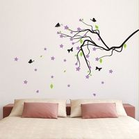 Blossom Branch with Butterflies Vinyl Wall Art Decal (WD-0180)