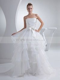 STRAPLESS SATIN AND ORGANZA WEDDING GOWN WITH ASYMMETRICALLY TIERED SKIRT