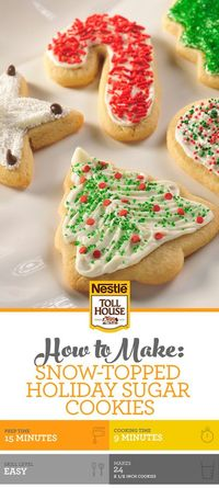 These Snow-Topped Holiday Sugar Cookies are fun to make, and even better to enjoy! The whole family will love to decorate and devour these holiday treats. They're sure to get everyone in the holiday spirit!