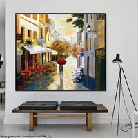 Cityscape painting skyline Oil Painting wall art hand painted street scenery city painting on Canvas large art home decor cuadros abstractos $109.00