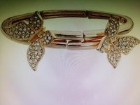 Revere 9ct Rose Gold Plated Crystal Butterfly Bangle £45.00