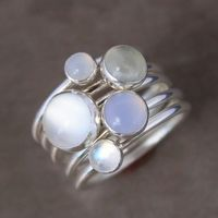 Luminous Gemstone Stacking Rings, Sterling Silver, Moonstone, Stackable Ring Set of 5 Rings, Moonstone, Green Moonstone, Blue Chalcedony on Etsy, $106.00