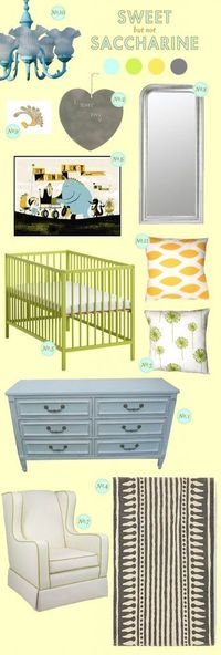 Green, Aqua, Tangerine and Grey Nursery