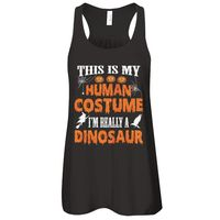 Great Family Store This Is My Human Costume I'm Really A Dinosaur Funny Halloween T-Shirt Women $25.95