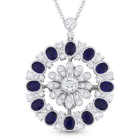 3.75ct Oval Cut Sapphire & Round Cut Diamond Pave Statement Pendant in 18k White Gold w/ 14k Chain Necklace