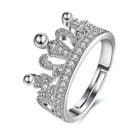 Swarovski Elements Adjustable Princess Tiara Ring in 18K White Gold Plating 925 Sterling Silver Unique Casual Rings $16.00