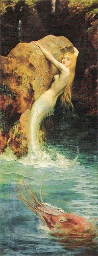 """The Mermaid by William A Breakspeare (British, 1855'�'�""""1914). Smaller resolution version of Age Hill's 2 pins"""