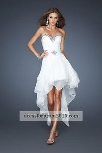 White Strapless High and Low Prom Dresses for Sale