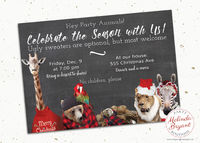 Unique Ugly Sweater Party Press Printed Invitation, Animal Themed Custom Holiday Cards Quirky Chalkboard Style Woodland and Safari Animals $1.36