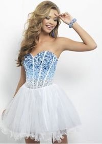 Blue Silver Ombre Sequin Tulle Corset Back Homecoming Dress