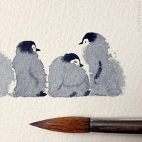 With a drop of watercolor, it's possible to give birth to the most adorable creatures. Mexican illustrator, Oliver Flores created a pack of baby penguins,