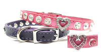 Fancy Leather Dog Collars, Fancy Cat Collars, with Rhinestone Bling Heart and Swarovski Crystals $29.00