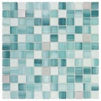 Elida Ceramica 12-in x 12-in Glass Mosaic Royal Green Mixed Material (Glass and Metal) Wall Tile