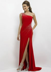 Red Long One Shoulder Beaded Sexy Open Back Slit Prom Dress