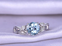 7mm Round Cut Blue Aquamaine Engagement ring White gold Ring Moissanite Twisted Wedding Band bridal ring Retro Vintage Floral Promise Ring $808.00