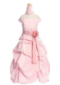 Pink Bridal Satin Spaghetti Strap A-line Pick-up Style Dres