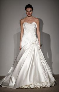 Slim asymetrically draped gown satin bridal gown with embelishment