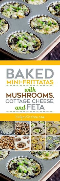 Baked Mini-Frittatas with Mushrooms, Cottage Cheese, and Feta are great for a meatless breakfast idea.