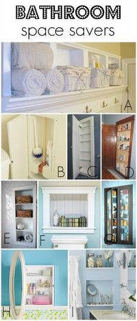 Use recessed storage to save space in a small bathroom via Remodelaholic.com