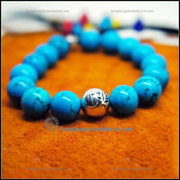 Blue Chrome Hearts 12mm CH Silver Beads Turquoise Bracelet