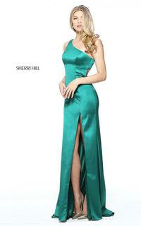 One Shoulder Emerald Sherri Hill 51007 Satin Long Prom Dress
