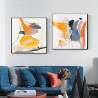 Water color set of 2 wall art picture Abstract palette knife yellow orange heavy texture extra large paintings on canvas acrylic painting $209.00