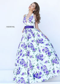 Sexy Halter Low Cut V Neck Ivory Purple Floral Print Ball Gown