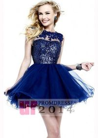 2014 Sparkly Navy Lace Mini Tulle Dress With Keyhole Back