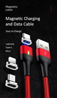 USAMS US-SJ326/US-SJ327/US-SJ328 3A Magnetic Cable Micro USB Type-C Fast Charging Data Cable for iPhone for Samsung Xiaomi